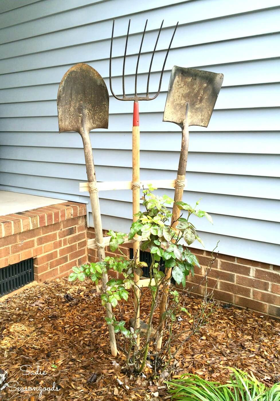 Garden Trellis from Vintage Yard Tools