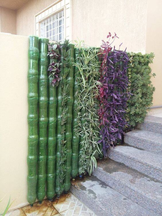 Green wall made from plastic bottles