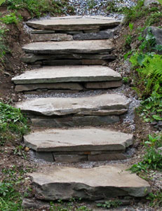 Rustic Flagstone Garden Steps. Garden Stair Ideas